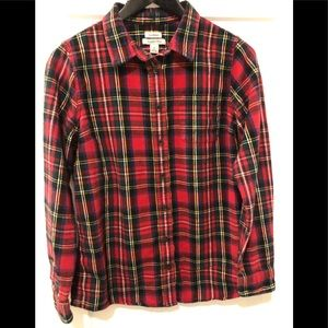 L.L.Bean red scotch plaid flannel slightly fitted
